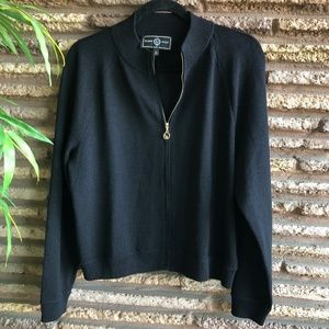 St. John Sport Black Full Zip Cardigan Sweater